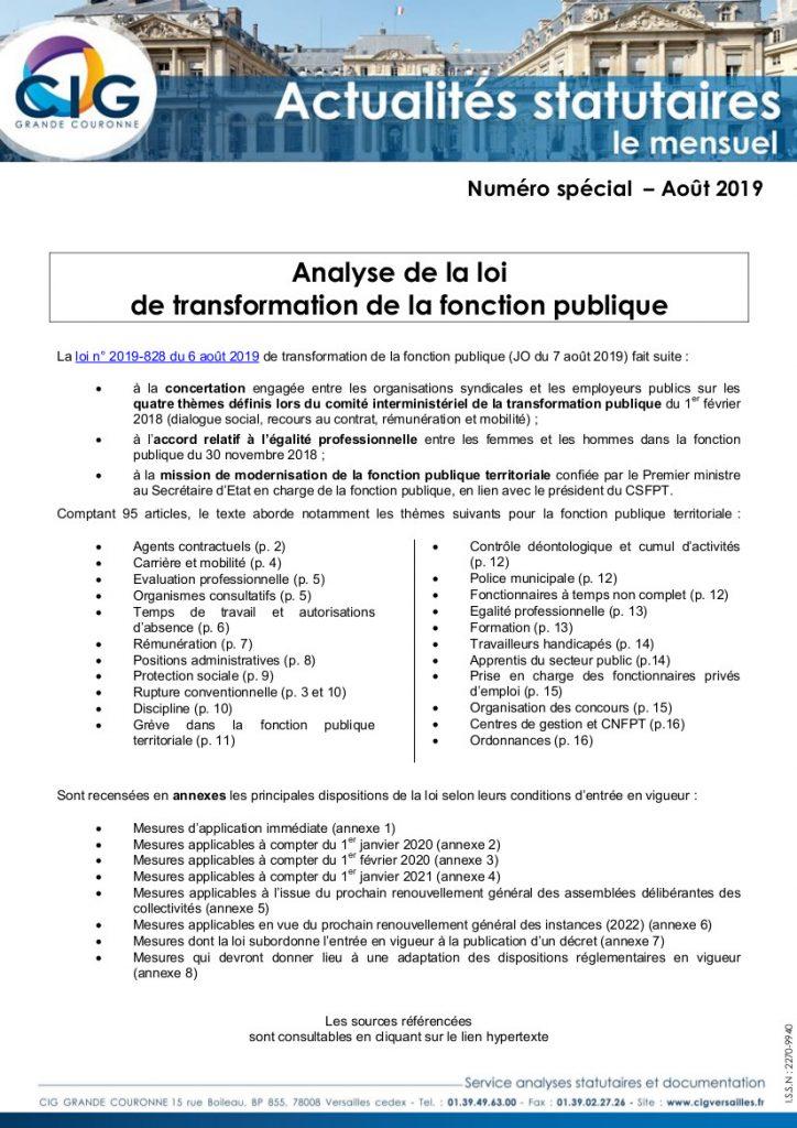 Analyse de la loi de transformation de la fonction publique