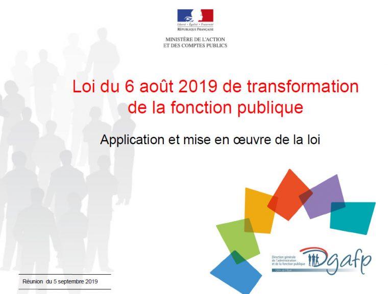 Loi du 6 août 2019 de transformation de la fonction publique Application et mise en œuvre de la loi