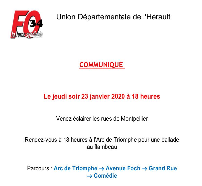 Manifestation nuit Montpellier 23 janvier 2020