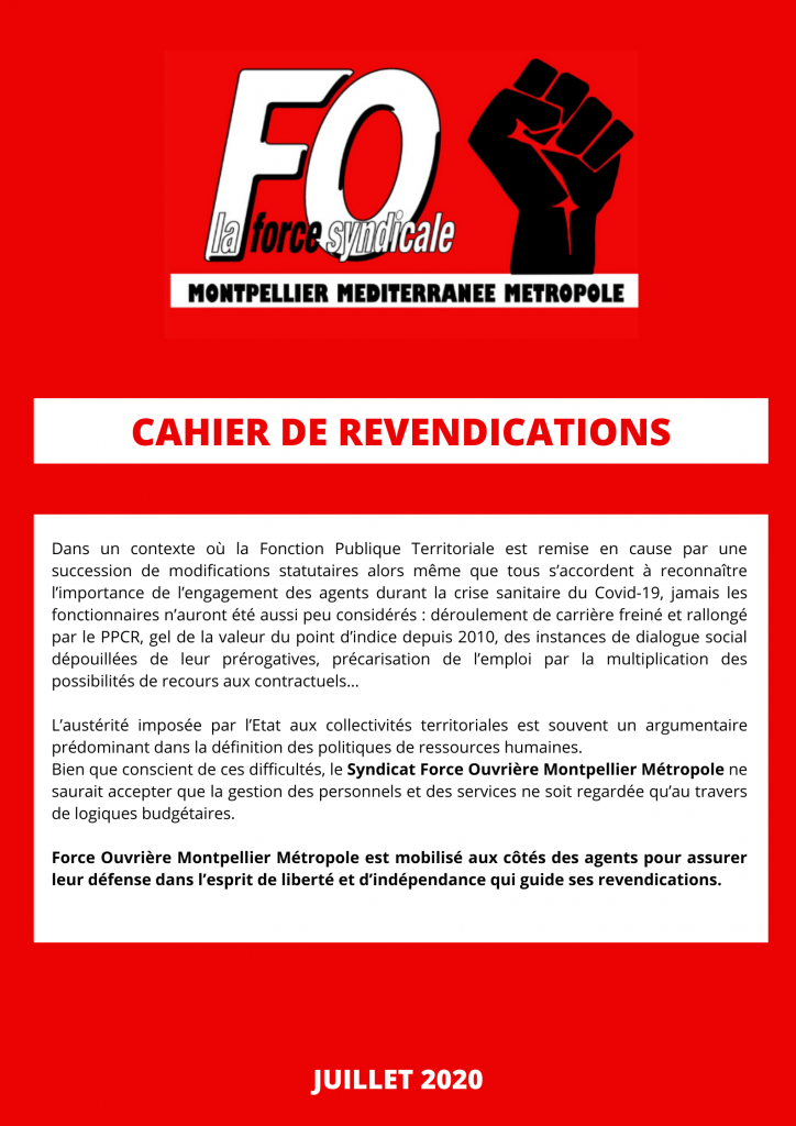 Cahier de revendications